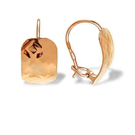 Hammered Gold Earrings. 585 (14kt) Rose Gold