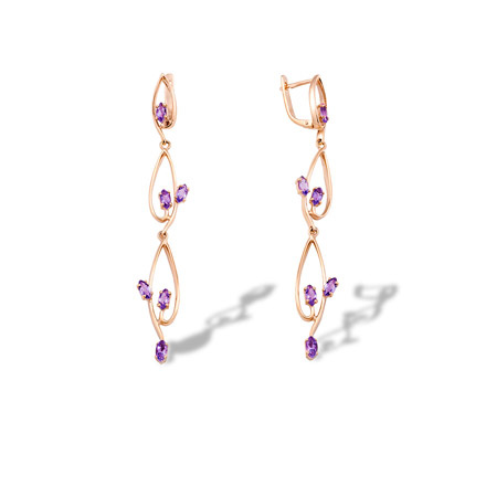 Amethyst Long Dangle Earrings
