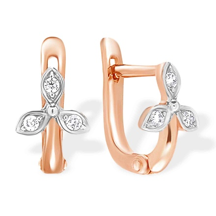 Clover-motif Kids' Earrings. 585 (14kt) Rose Gold