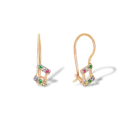 Candy-colored CZ Toddler Gold Earrings