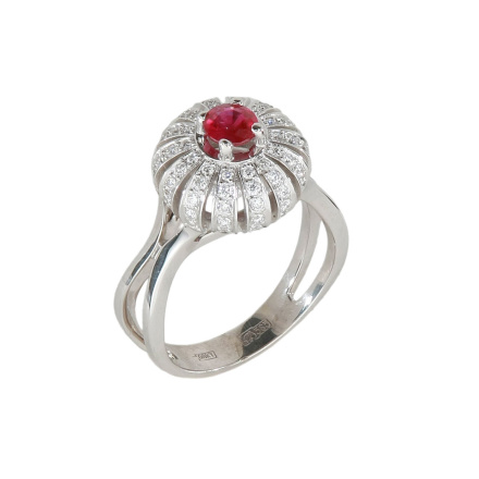 Burmese ruby double-shank ring