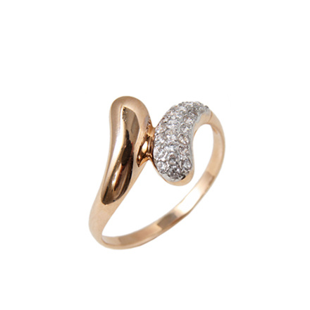 Guilloche-pave rose gold ring