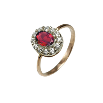 Rose gold ring with created ruby and cz