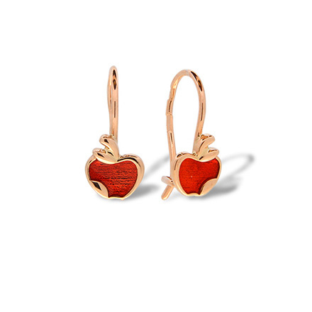 Enamel Red Apple Kids' Gold Earrings. Hypoallergenic 585 Rose Gold, Red Enamel