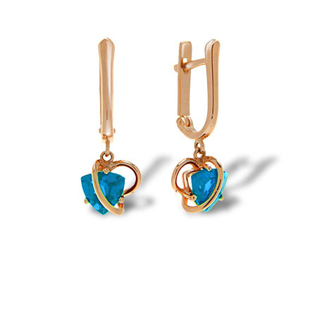 Swiss blue topaz gold earrings