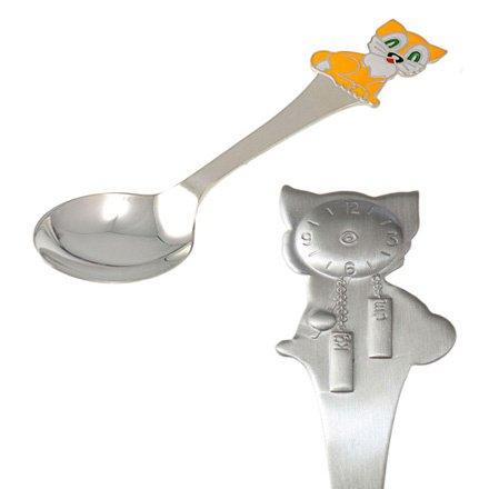 Silver child spoon Kitten and Clock