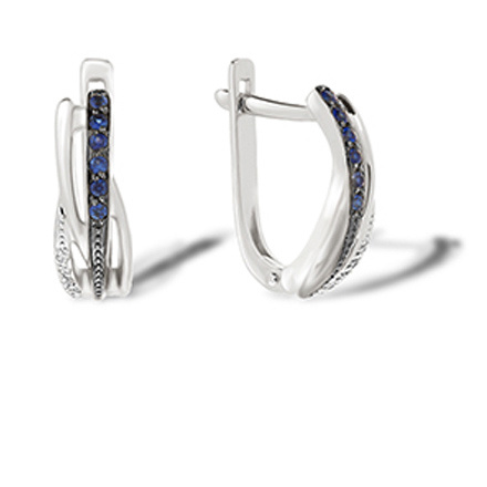 Sapphire and Diamond Huggie Earrings. Hypoallergenic 585 (14K) White Gold