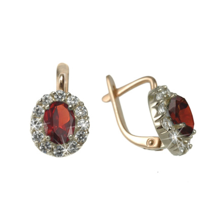 Rose gold ruby earrings with cz