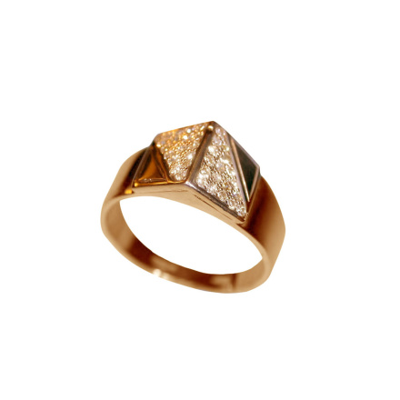 CZ Geometric Ring. 585 (14kt) Rose and White Gold