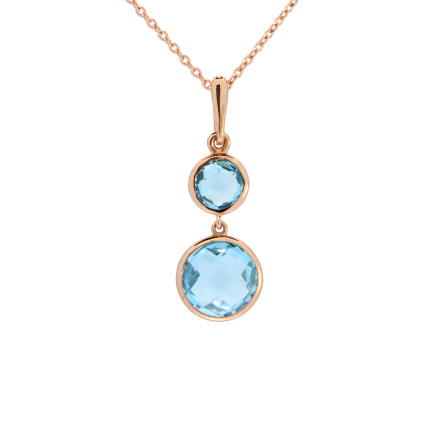 Two Round Blue Topaz Pendant. Double Sided Rose-cut Blue Topaz Pendant