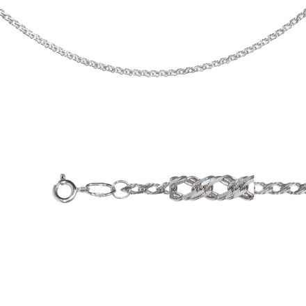 Rombo Curb-link Chain (0.4mm Solid Wire). Diamond Cut Technique Over Sterling Silver