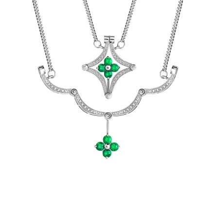 Emerald and Diamond Convertible Necklace. Hypoallergenic 585 (14K) White Gold