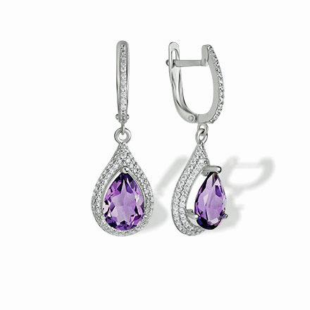 Amethyst Teardrop Leverback Earrings. Nickel-free 585 White Gold, 'Empress' Series