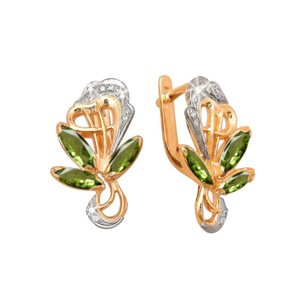 Rose And White Gold Peridot Earrings