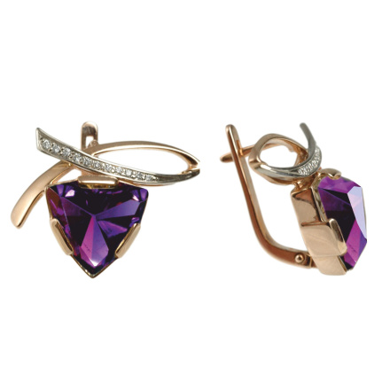 Rose and white Russian gold triangular rauh amethyst diamond earrings
