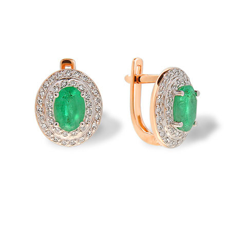 Russian emerald elliptical earrings