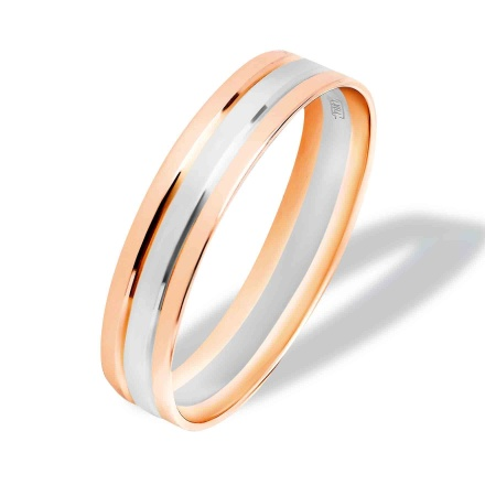 Wedding Band. Hypoallergenic 585 White and Rose Gold