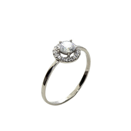 CZ Halo White Gold Ring
