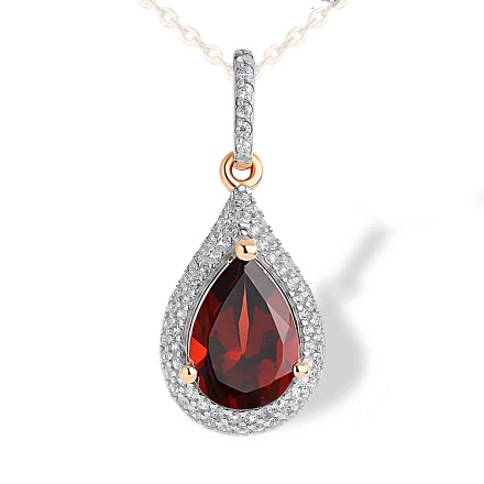 Garnet and CZ Teardrop-shaped Pendant. 585 (14kt) Rose Gold, Rhodium Detailing