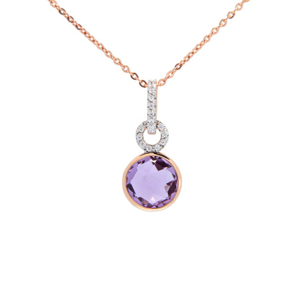 Amethyst and CZ Pendant