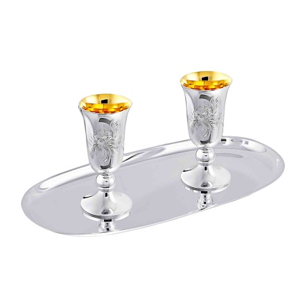 Silver Drinkware Set: Two Vodka Stem Shots With A Silver Tray