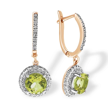 Peridot with Double Halo CZ Dangle Earrings. 'Empress' Series, 585 (14kt) Rose Gold