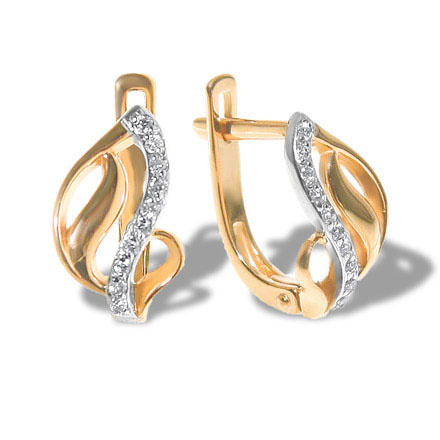 CZ Rose Gold Leverback Earrings