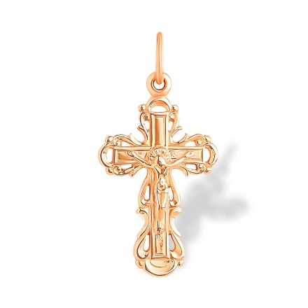 Ukrainian Style Greek Catholic Cross. Hypoallergenic 585 (14K) Rose Gold