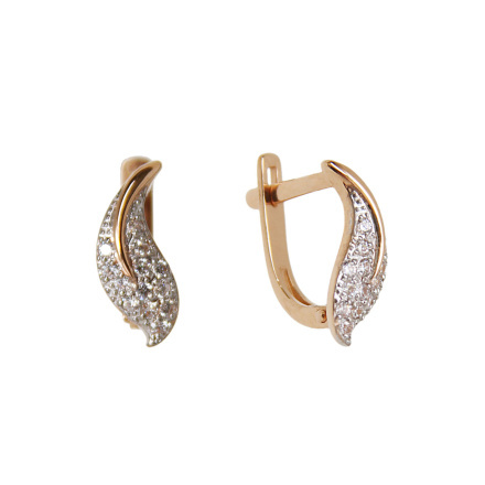 Pave CZ Russian gold earrings