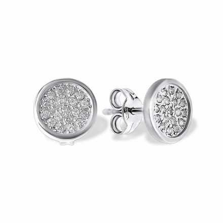 Pave CZ Circle White Gold Stud Earrings. Nickel Free 585 White Gold, Friction Backs