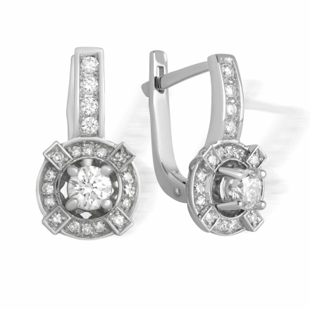 Certified Diamond Earrings. Miligree Cutwork Over White Gold