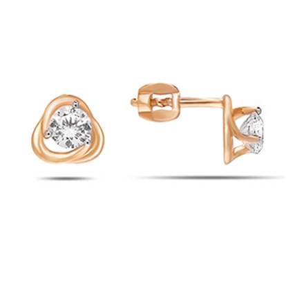 CZ Martini-style Stud Earrings. Cadmium-Free 585 Rose Gold, Screw Backs