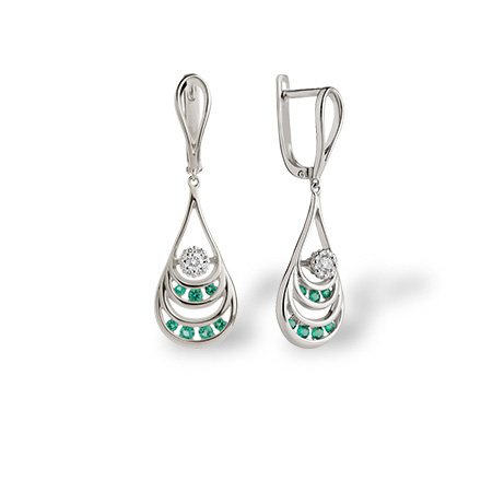 Emerald and Diamond Dangle Earrings. 585 White Gold