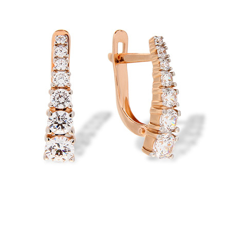 Graduated Swarovski CZ Leverback Earrings. Rose Gold