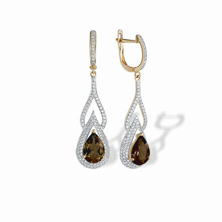 Teardrop Rauh Topaz and CZ Earrings. 'Empress' Series