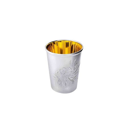 Gilded Silver Liquor Shot. Hypoallergenic Antibacterial 925 Silver