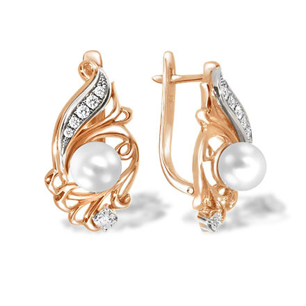 Estate White Pearl and Diamond Earrings