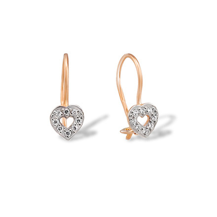 Heart Shaped Earrings With Cz