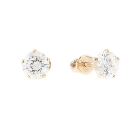 Ear studs with CZ solitaires