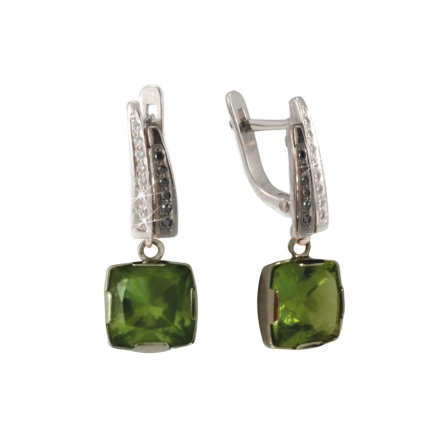 Peridot Earrings With Black And White CZ