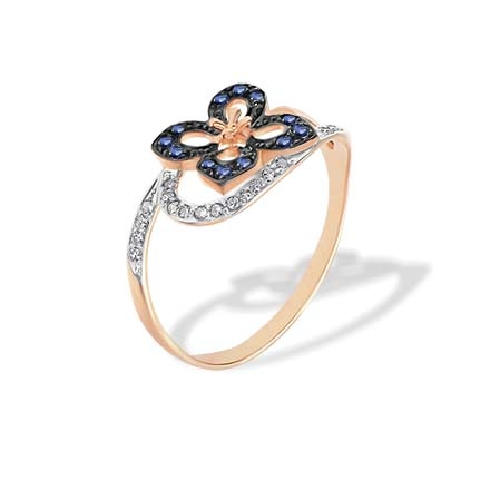 Butterfly-inspired Diamond Sapphire Ring. Hypoallergenic 585 (14K) Rose Gold