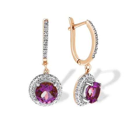 Amethyst and CZ Drop Earrings. Hypoallergenic Cadmium-free 585 Rose Gold