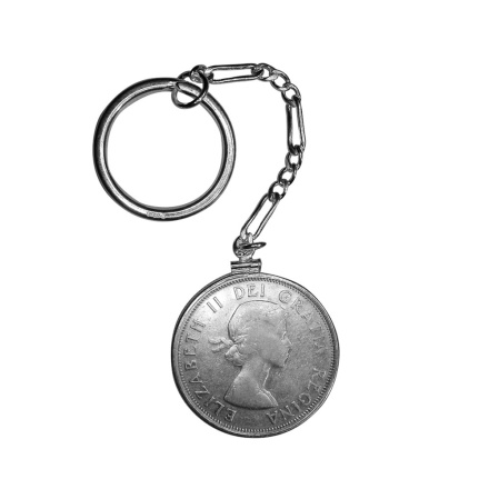 Silver Canadian 50 cents (1958 year) key chain