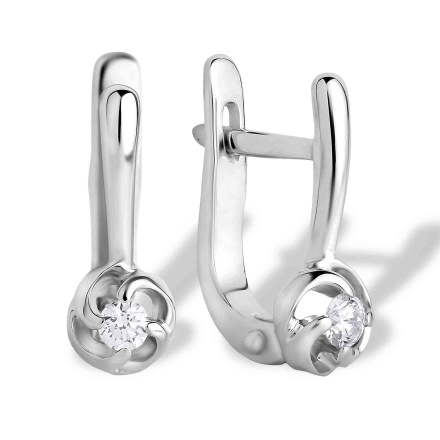 Tiny Solitaire Diamond Leverback Earrings. 585 (14K) Hypoallergenic White Gold