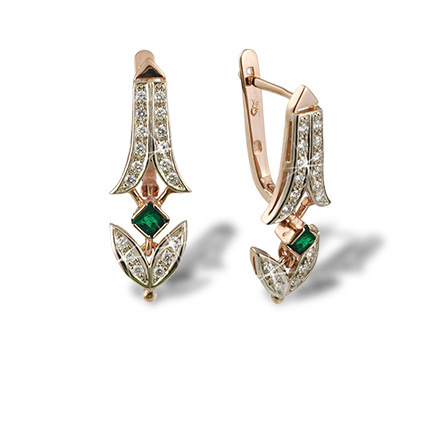Antique-inspired Certified Earrings. Russian Emeralds and Diamonds
