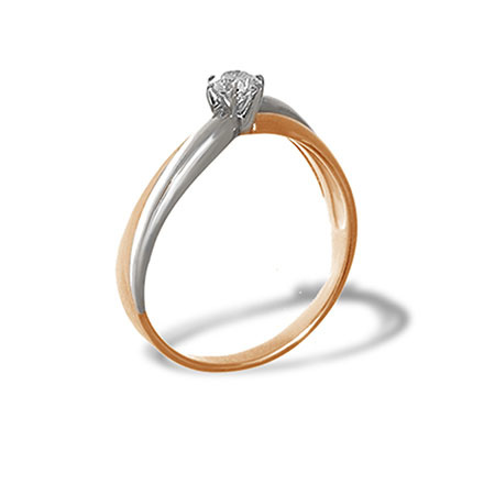 Diamond Two-Tone Gold Crisscross Ring. 585 (14kt) Rose and White Gold