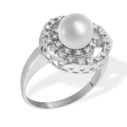 Pearl Diamond Double Circle Ring. 585 (14kt) White Gold