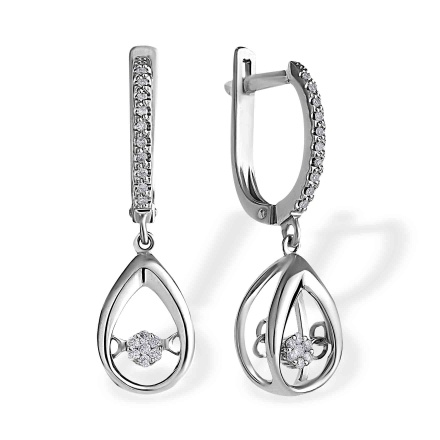 """Fluttering Diamonds"" Earrings. 585 (14kt) White Gold"