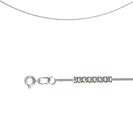 Single Curb Chain (0.4mm  Silver Solid  Wire). Diamond Cut Technique, Rhodium Plating