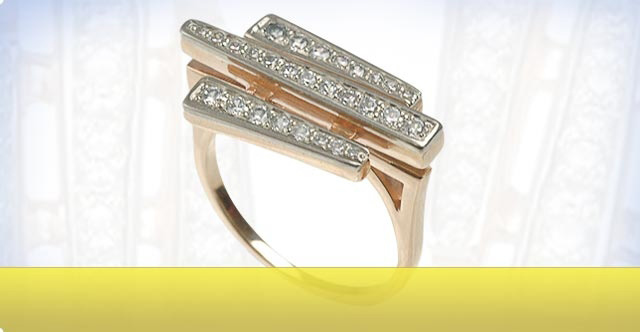 CZ Rose Gold Rings Russian Gold Jewelry